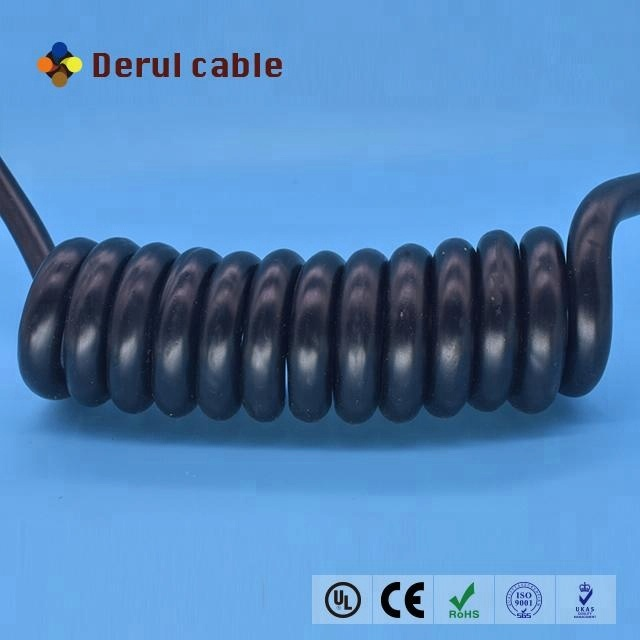 Multicore 20 cores spiral cable retractable coil cable 20*0.8mm2 high elasticity spring cable