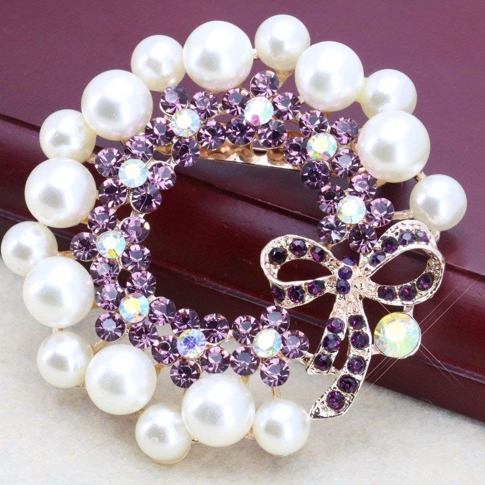 Shining Popular Rhinestone Flower Brooch Breastpin Crystal Elegant Wedding Party Glass Beaded Pearl Pins 64mm DIY Jewelry-in Brooches