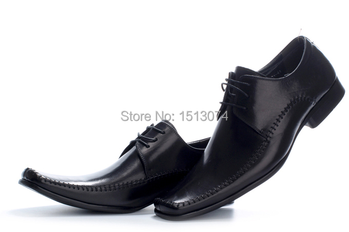 Get Quotations 2017 New Luxury Italian Mens Dress Shoes Sewing Thread Square Toe Men Black Leather Oxfords