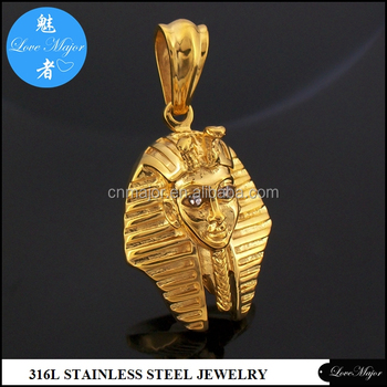 78b9210a6207d Gold Ancient Crtstal Stainless Steel Egyptian Pharaoh Head Pendant Jewelry  - Buy New Fashion Jewelry Vintage Classic Egyptian Pharaoh Head 18k Gold ...