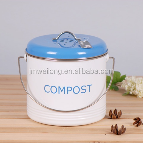 Nice New Kitchen Metal Compost Bin Round Compost Pail With Handle