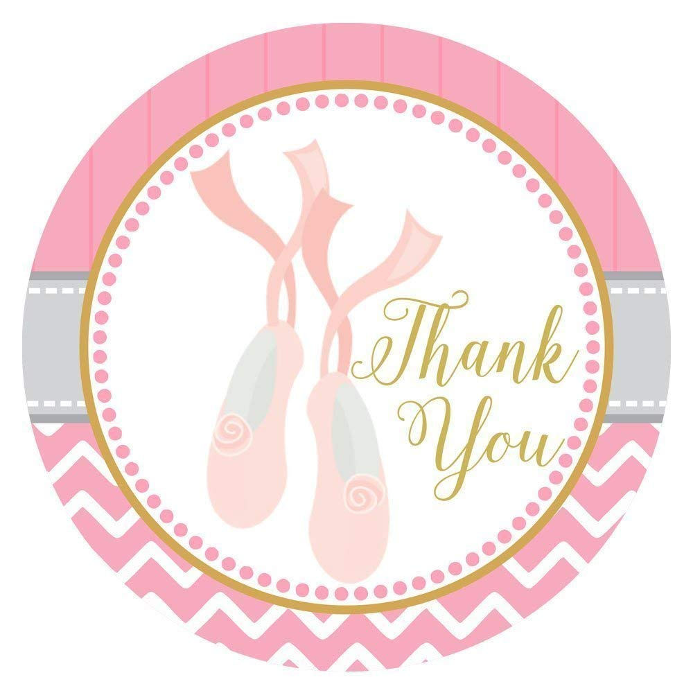 42da6ce4b6 Get Quotations · Ballerina Shoes Thank You Sticker Labels - Birthday Baby  Shower Ballet Recital Party - Set of