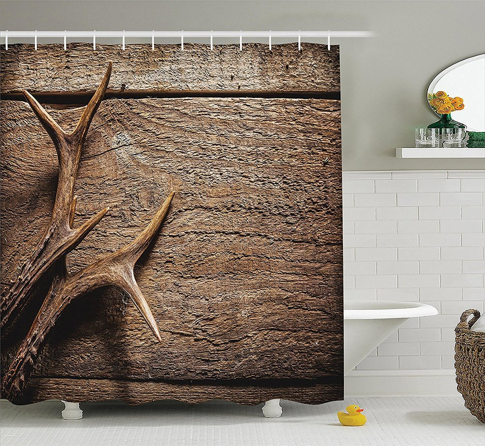 Antlers Shower Curtain Decor by Deer Antlers on Wood Table Rustic Texture Surface Hunting Season Decorating Image Polyester Fabric Bathroom Shower Curtain Tan Pru