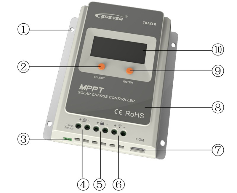 Tracer1210A solar 10a mppt 12v 24v autowork automatic power factor controller
