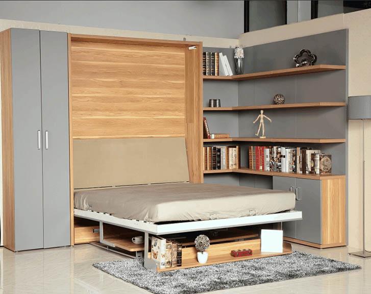 neueste platzsparend murphy wand bett mechanismus mit schreibtisch und b cherregal bett produkt. Black Bedroom Furniture Sets. Home Design Ideas