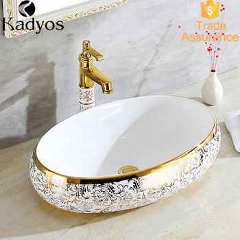 Modern Oval Above Counter Basin Elecroplating Gold Color Bathroom