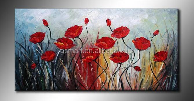quadri su tela a buon mercato dipinto quadri di fiori rosso papavero fiori  moderno quadri ad olio dipinti di fiori su tela