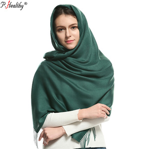 newest popular design factory long solid winter cashmere pashmina shawl with tassel