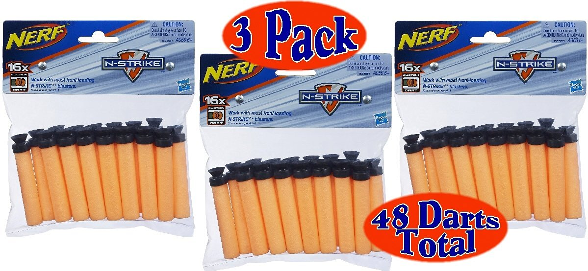 Nerf N-Strike Suction Darts 16ct. Bundle (Pack of 3) - 48 Suction Darts Total