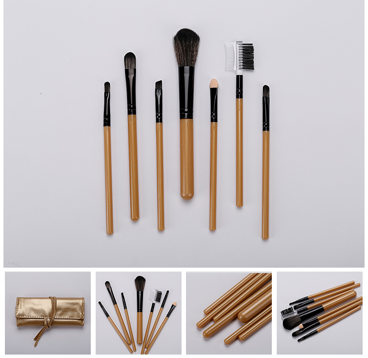 Hot Selling Private Label Makeup Brush 7pcs Foundation Gold Make Up Brushes Set
