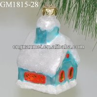 Wholesale 2013 hanging color paint glass blown xmas village