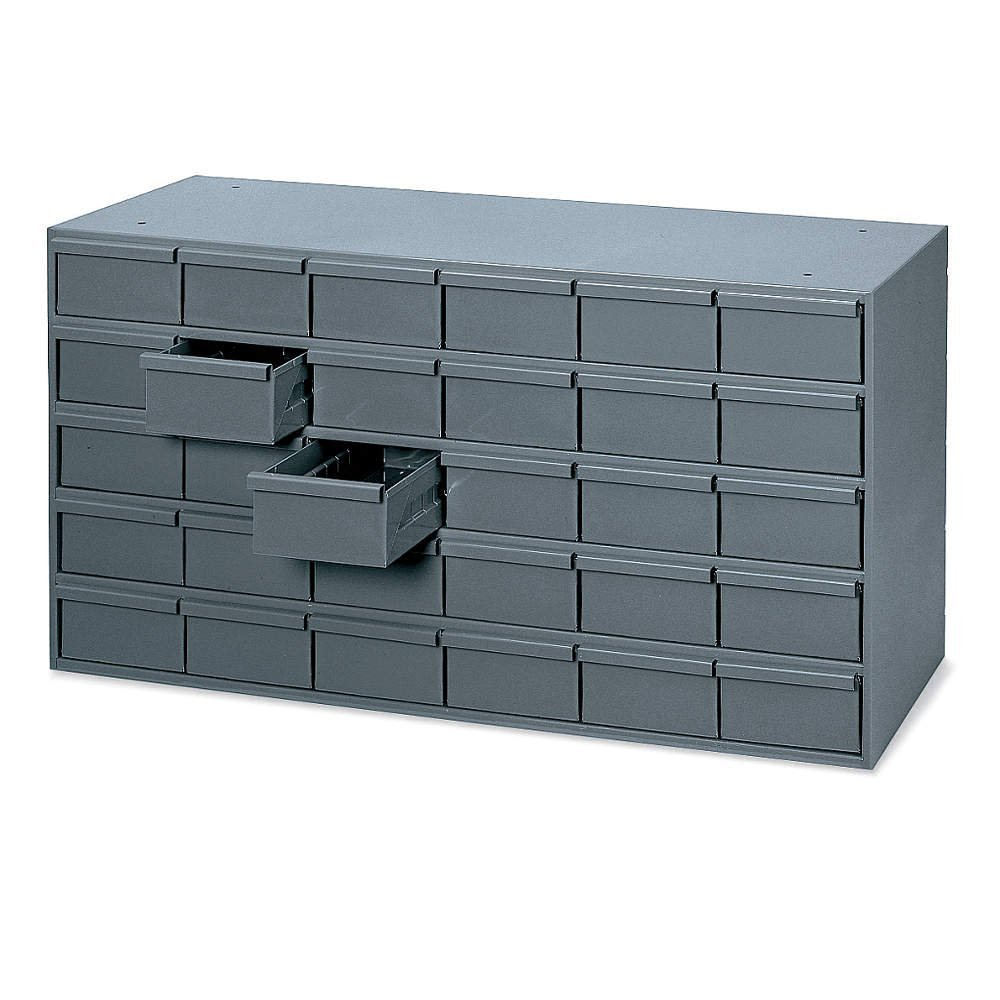 "Durham 014-95 Gray Cold Rolled Steel Storage Cabinet, 33-3/4"" Width x 17-3/4"" Height x 11-5/8"" Depth, 30 Drawer"