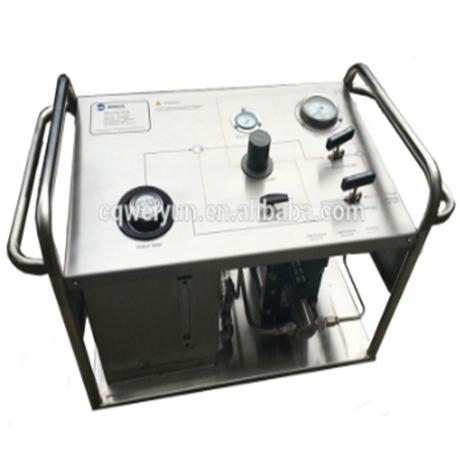 High pressure pneumatic hydrostatic test booster station for wellhead