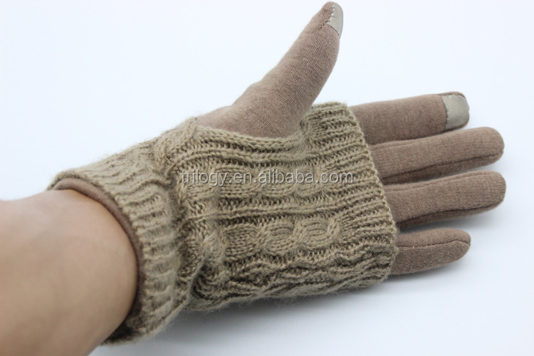 Best Selling Iphone Gloves Two Piece Cable Knit winter gloves for touch screen