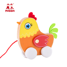 New arrival baby play hen animal kids wooden pull along chicken toy for toddler 1+