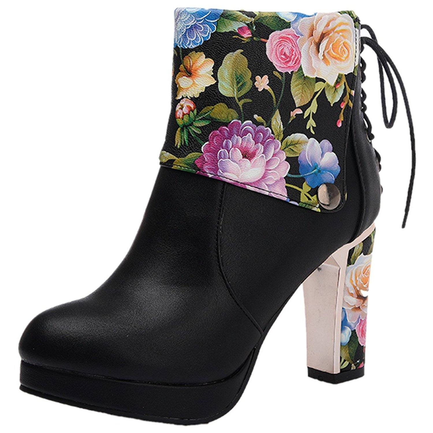 Rongzhi Womens Ankle Boots Thicken Heels Platform Lace Up Zip Round Toe Party Dress Booties Flower
