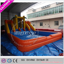 Finely processed swimming pool slide/newest design inflatable wet slide