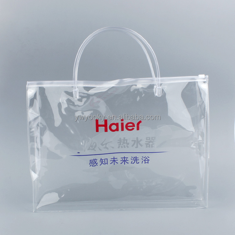 Tote style PVC transparent clear plastic carry bags