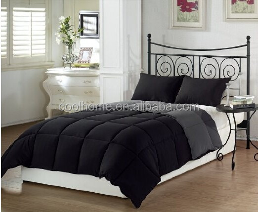 3 pcs Black Grey Super Soft Goose Down Comforter bedding Set