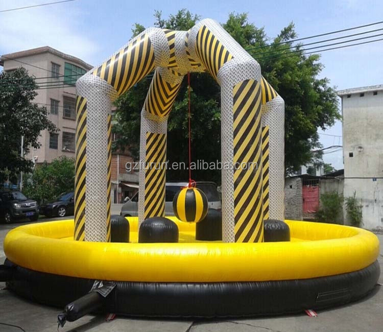 4 players interactive cheap inflatable wrecking balls jumping games for party
