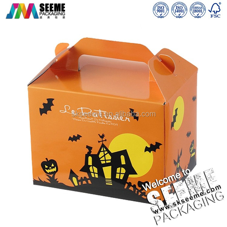 Pumpkin Paper Gift Halloween Decoration Packaging Box with handle