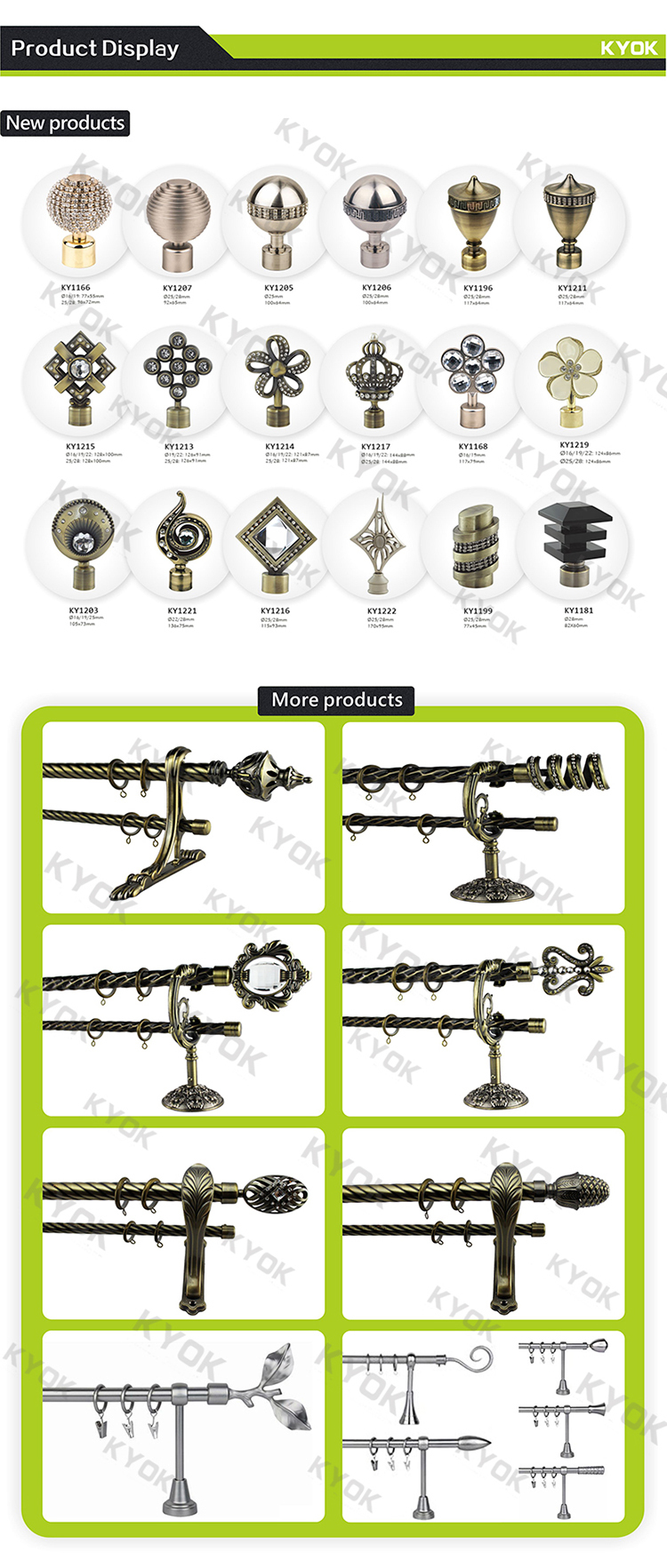 Kyok New Original Design Finial Curtain Rod Accessories,Curtain ...