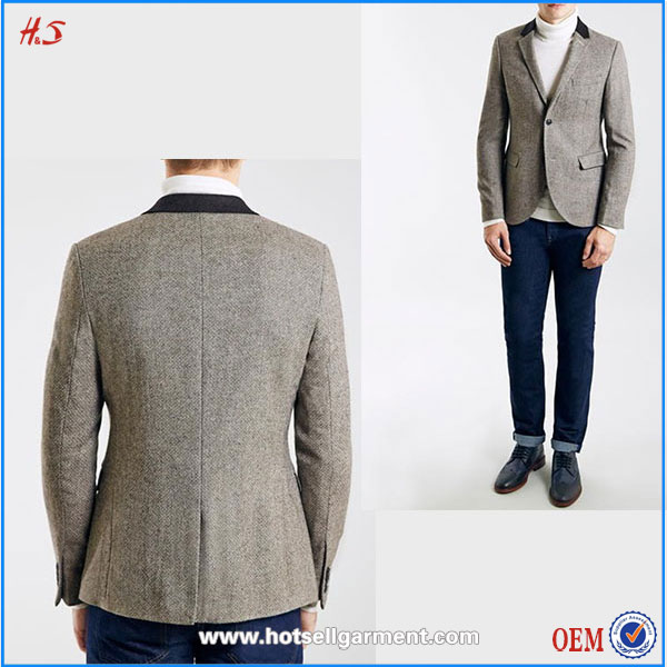 Top High Quality Men`s Clothing Wool Blend Skinny Fit Men Blazer Designs Fashion Suits For Men