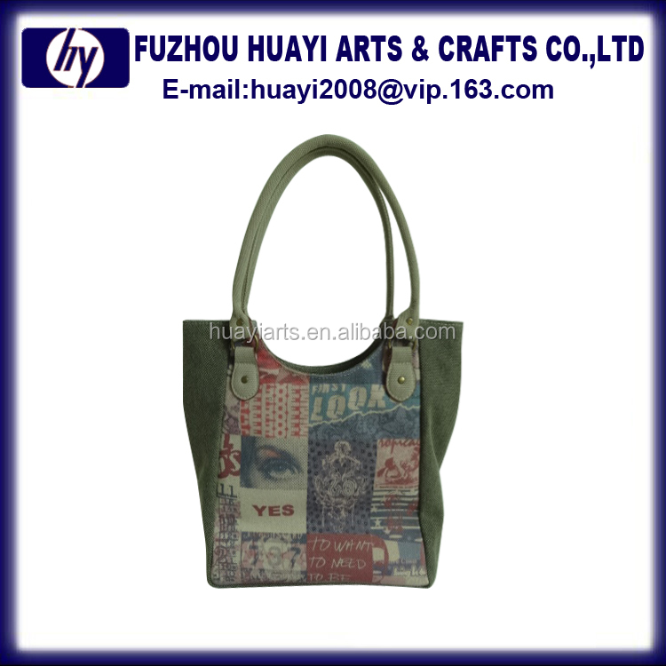Manufacturers china genuine leather lady handbag linen tote bag