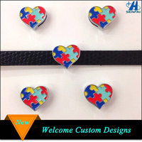 Autism Awareness Heart 8mm Slide Charms for Bracelet