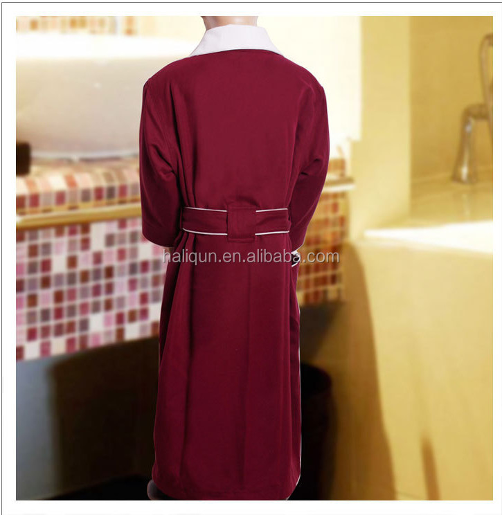 Honorable Wine Red Cardin Double Layer Robe Luxury Bathrobe