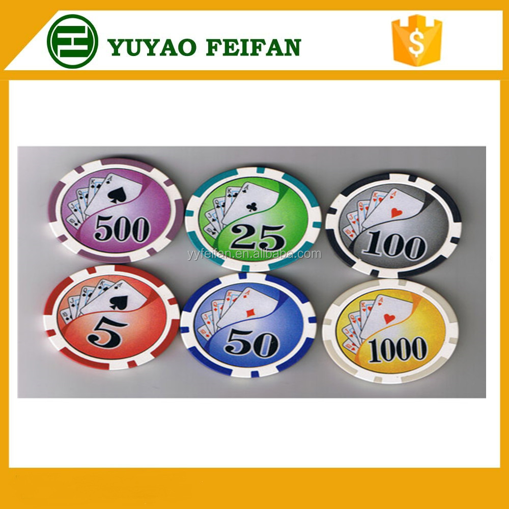 Professionele Plastic Poker Chips 30mm Met Sticker Voor Gokken