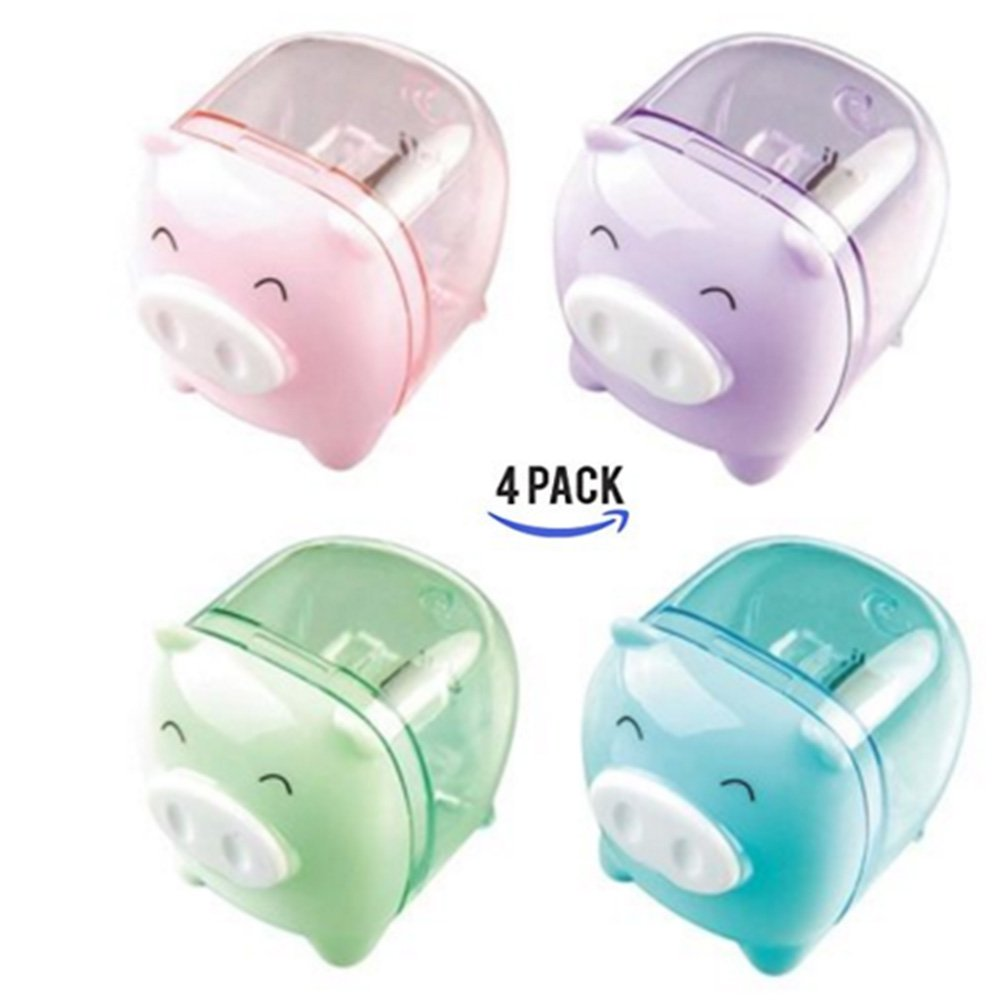 CiCy 4pcs Lovely Cute Cartoon Animal Pig Pencil Sharpeners for Kids Random Color
