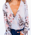 Autumn Fashion Women Casual Chiffon V-Neck Loose Floral Print Shirt