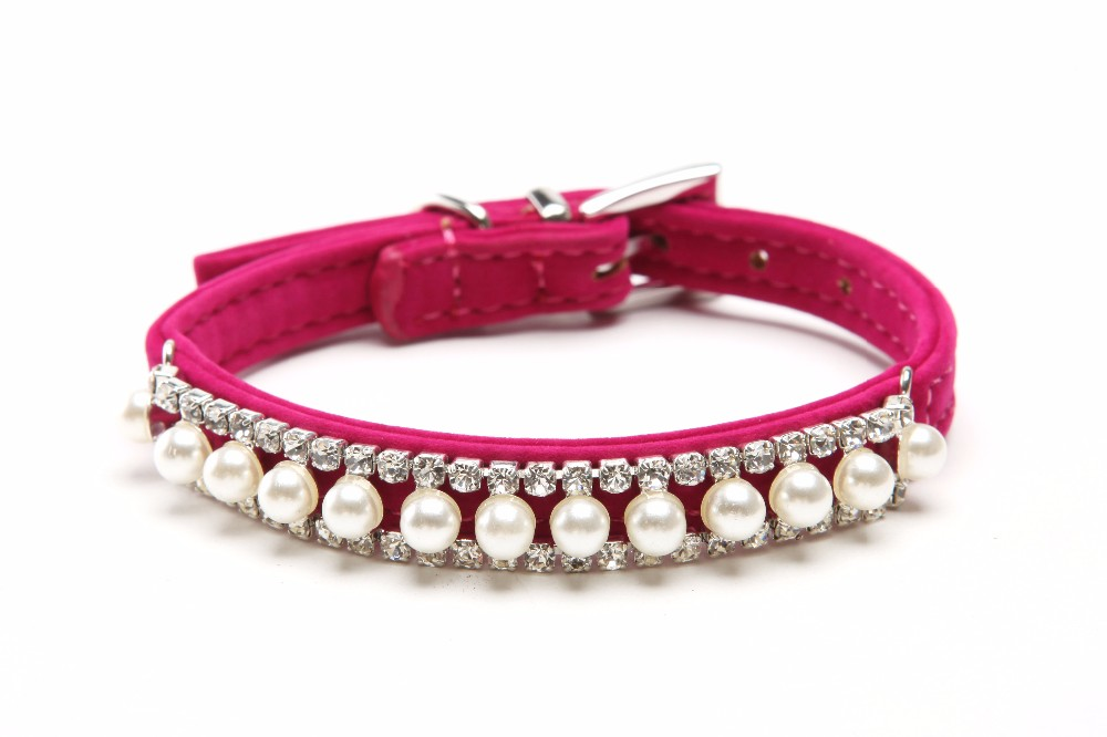 Free Shipping Velvet Pearl Crystal Fashion Bling Dog Cat Collar