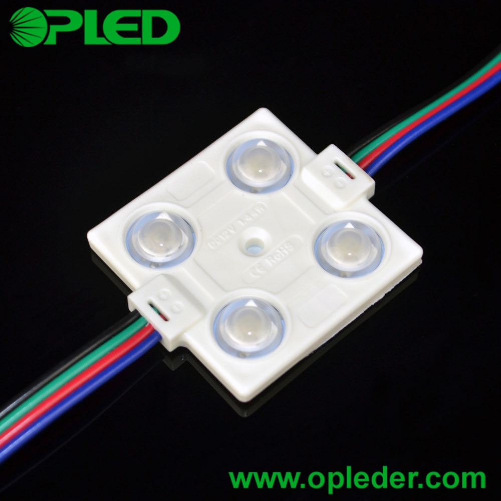 DC12V 1.44W 4 5050 RGB injection LED module with lens