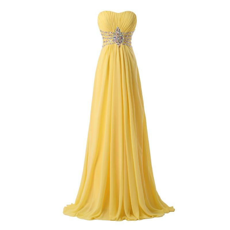 d55d7f88aa04 Elegant Yellow Chiffon Long Evening Gowns 2016 Sweetheart Lace-up Back Prom  Dress Crystals Vestidos De Fiesta Largos Elegantes