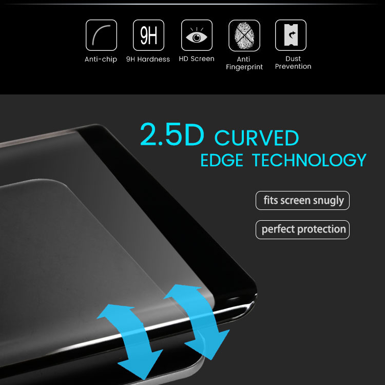 Free Sample 9H 3D 0.33mm  Screen Protector Guard for samsung note 8 8Plus Mobile Tempered Glass