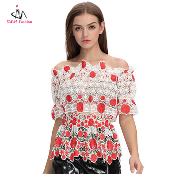 2017 Latest Design White Lace Crochet Lady Blouse Custom Wholesale Floral Embroidery Off Shoulder Fashion Woman Top