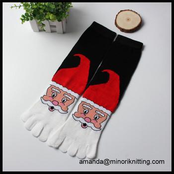 2017 new design customed logo cheap price funny xmas christmas socks microfiber five toe socks - Funny Christmas Socks