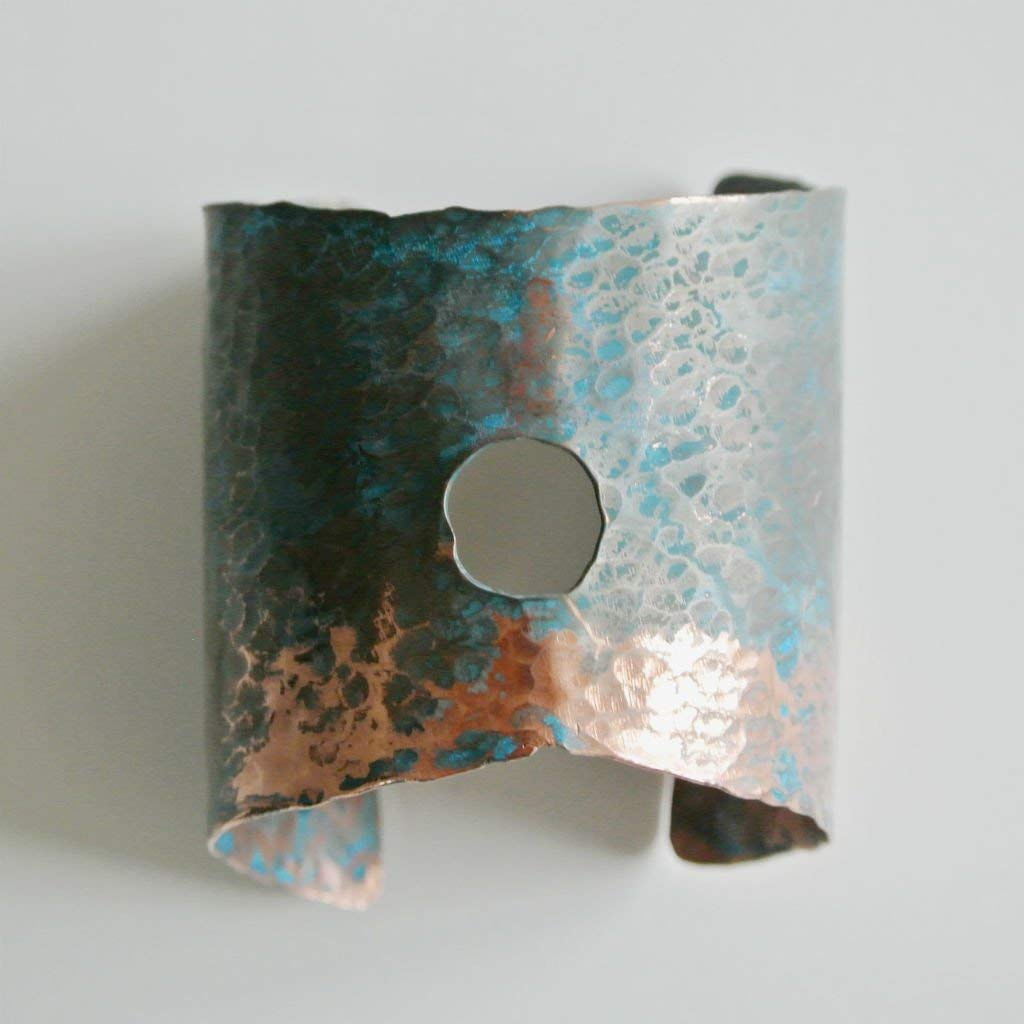 """Rough It - Turquoise and Copper Cuff Statement Bracelet - 3 3/4"""" Wide"""