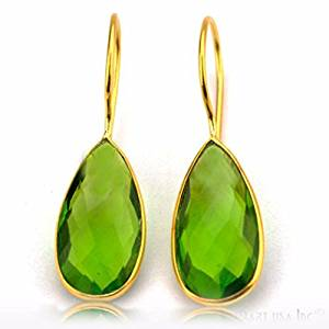 Choose Your Smooth Bezel Gemstone Stud Earring 24k Gold Plated Exclusively by GemMartUSA -Hydro Peridot (PHER-90004)