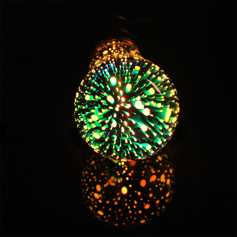 New products filament 3D firework bulb lamp 3D filament LED bulb for Christmas decoration A19 4W <strong>E27</strong>