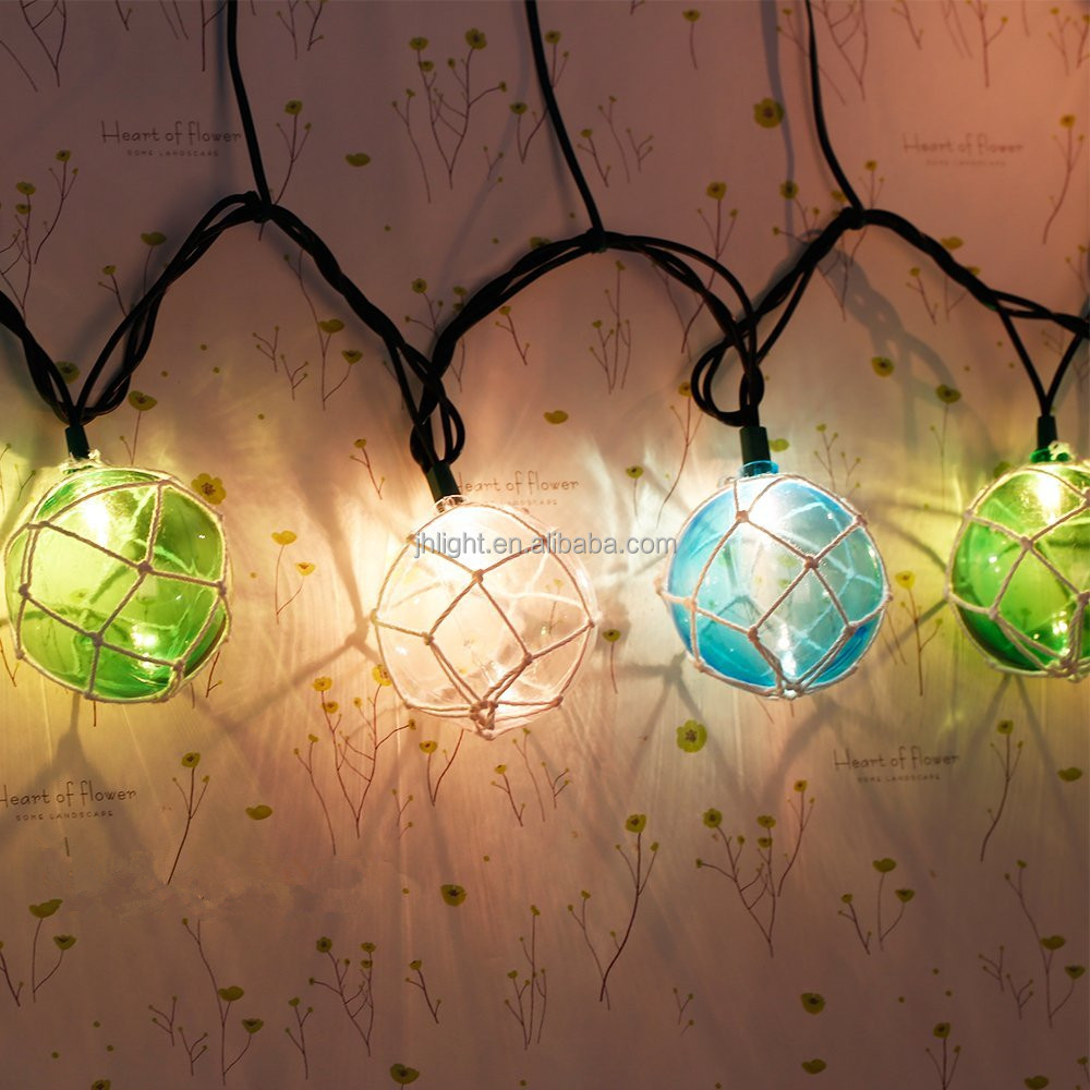Set of 10 Nautical Fishing Floats Coastal Buoy Beach Style String Lights Set. Warm White Light