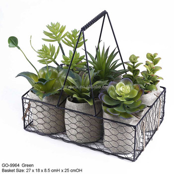 assorted artificial potted herbs in jute bags in wire baskets with