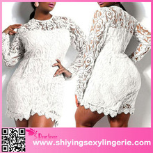 De china al por mayor blanco de talla grande de manga larga lace romper ladies mameluco