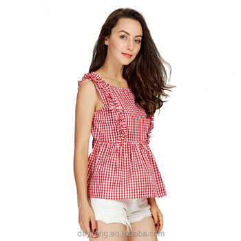 d4f009297 2018 Women Sweet Ruffles Plaid Pleated Shirts Buttons Sleeveless Backless  Checked Blusas Ladies Summer Casual Tops