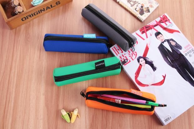 Neoprene Stylish Stationery Pouch Office Pencil Case Kid's Pen Storage Bags