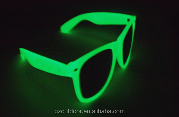 fluorescent power crazy party night glowing sunglasses,uv400 plastic frame custom AC lenses goggles, playing flash shine shades
