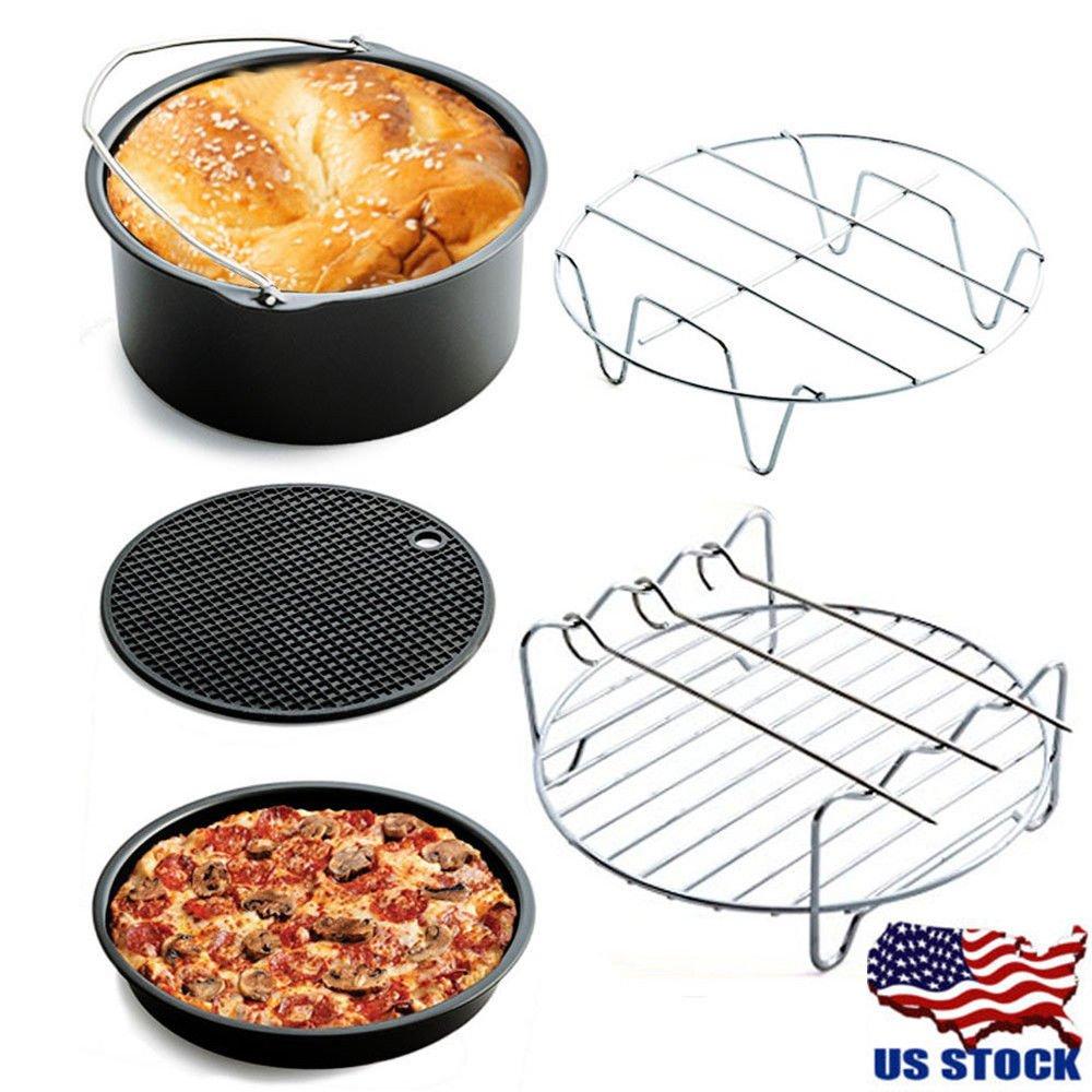 Air Fryer Accessories,Gowise Phillips & Cozyna Air Fryer Accessories,Cake Barrel,Pizza Pan,Silicone Mat,Skewer Rack,Metal holder Fit all 3.7Qt - 5.3Qt - 5.8Qt Non-Stick Deep Fryer Universal (5 PCS)