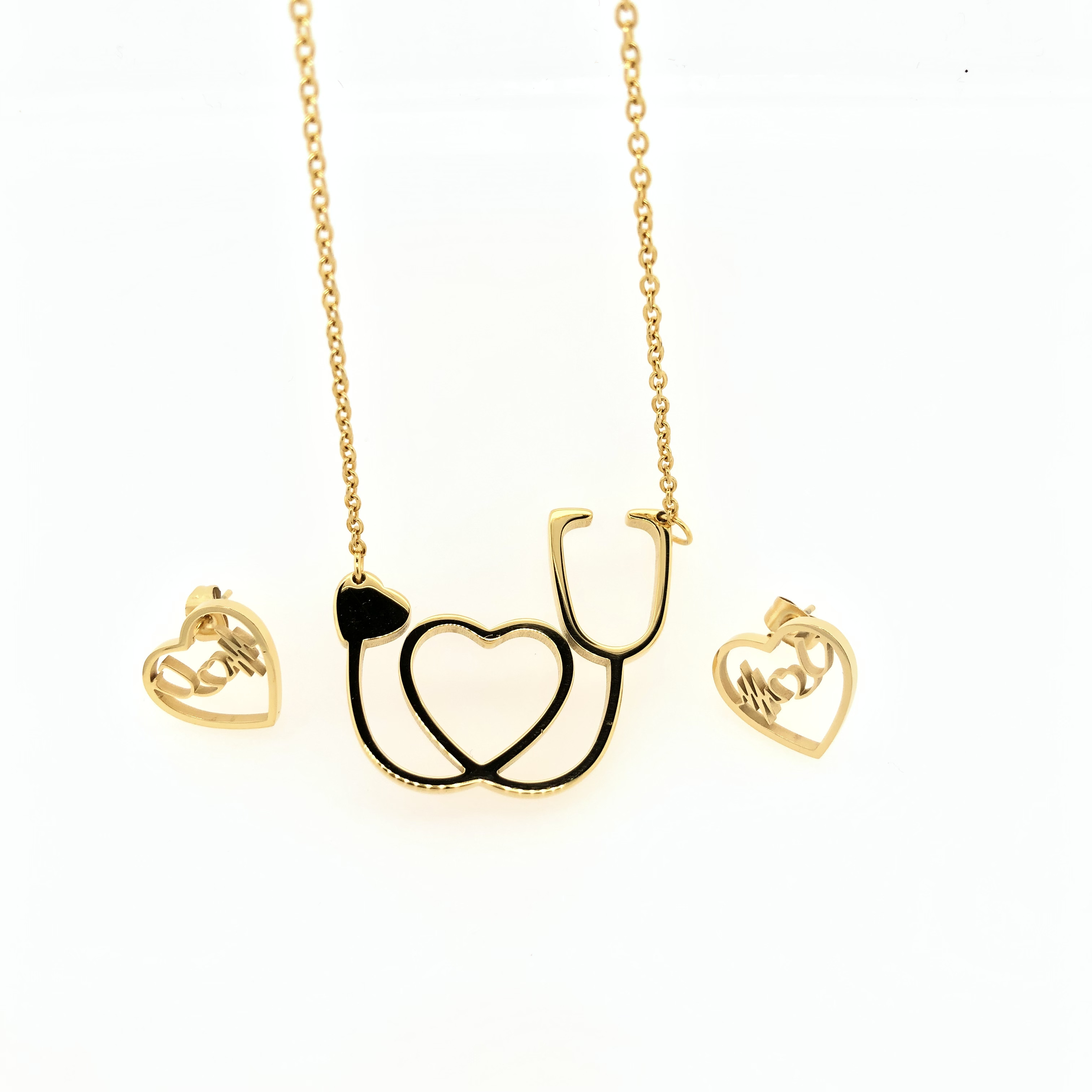 Rose Gold Stainless Steel Love Stethoscope Jewelry Set Necklace Earrings